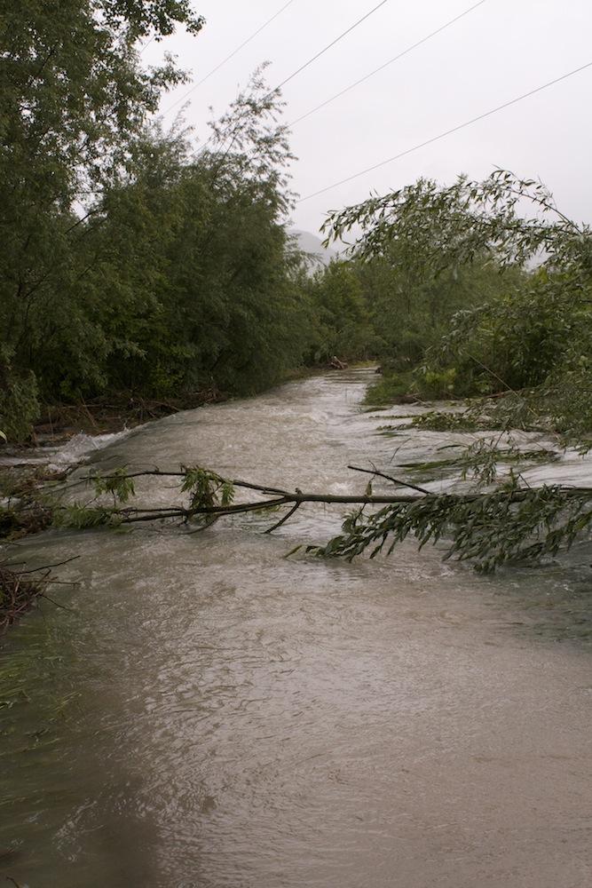 Wanderweg überflutet, nahe Spumbach 2013